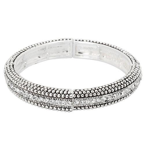 Vintage Silver Bracelet - Rhinestone