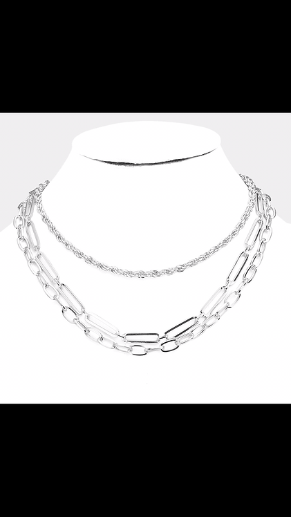 Triple Layered Metal Necklace - Silver