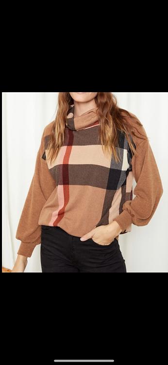 Plaid Loose Turtleneck Sweater