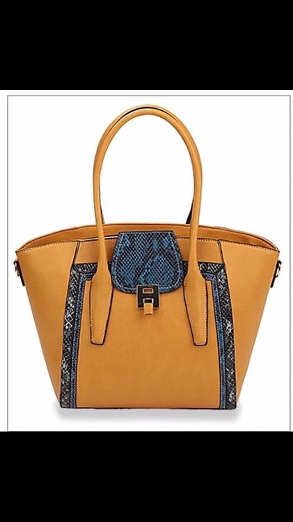 Snake Print Flap Handbag - Mustard