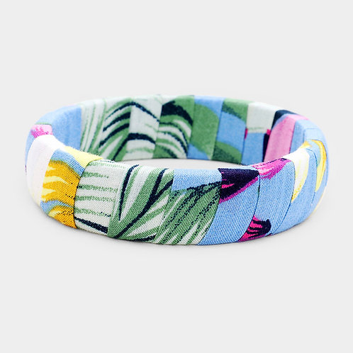 Tropical Wrap Material Bangle - Blue