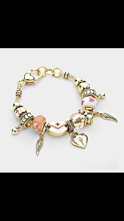 Nurse Charm Bracelet - Gold