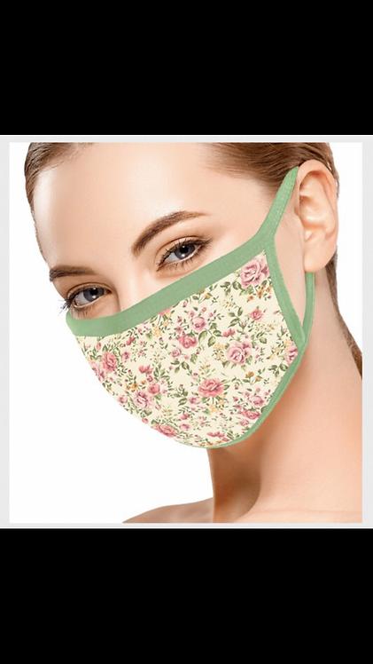 Floral Face Mask - Beige