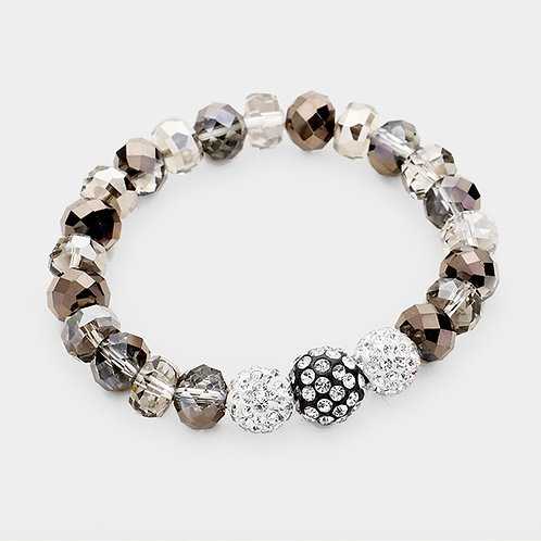 Shambala Bracelet - Silver / White