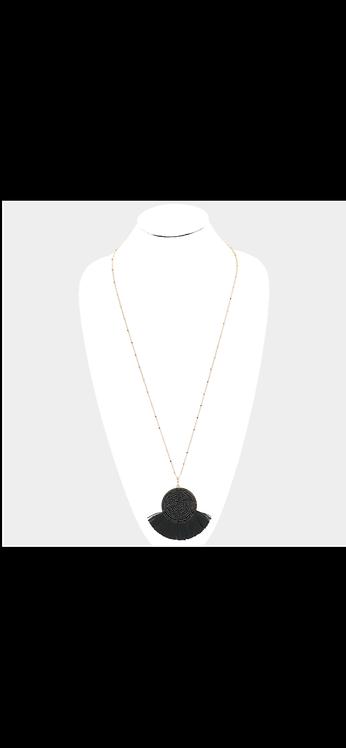 Beaded Fringe Tassel Necklace - Black