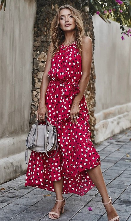 Red Pattern Halter Dress