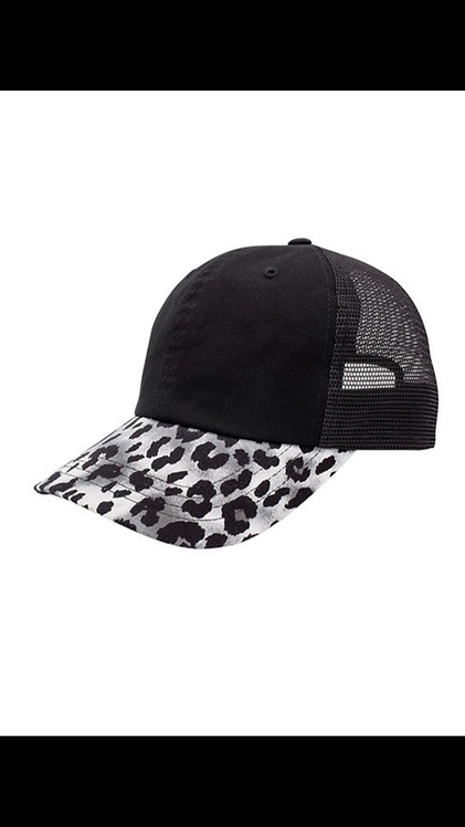 Leopard Trim Baseball Hat - Gray