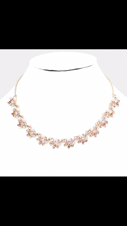 Thin Stone Floral Necklace - Rose Gold