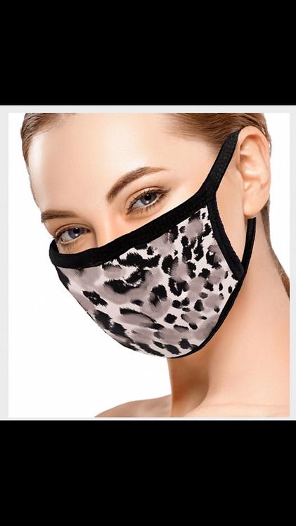 Gray Leopard Face Mask