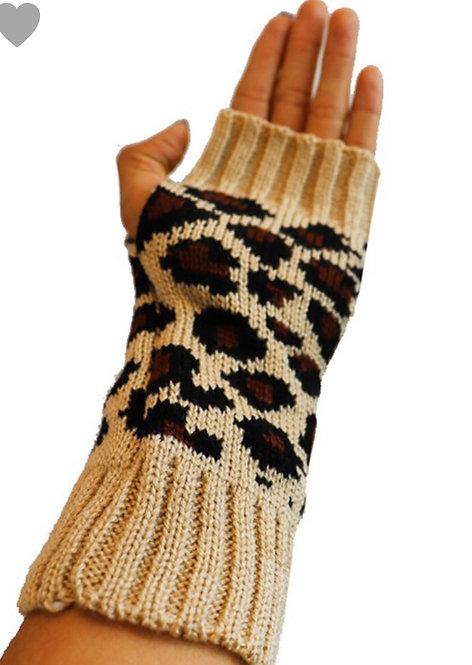 Leopard Fingerless Gloves - Assorted