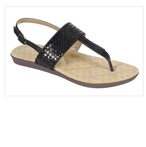 Black Metallic Sling Back Sandal