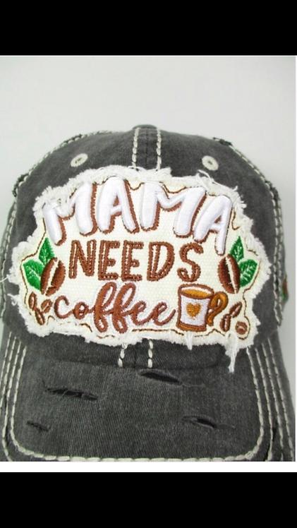 Mama Needs Coffee Baseball Hat - Charcoal