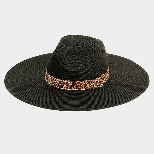 Black Sun Hat - Leopard Ribbon