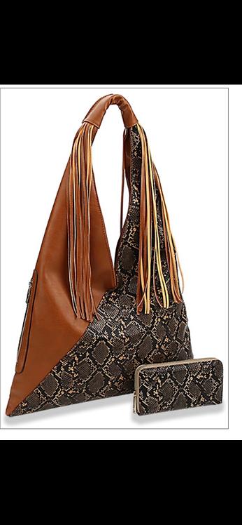 Fringe and Snakeskin Handbag Set