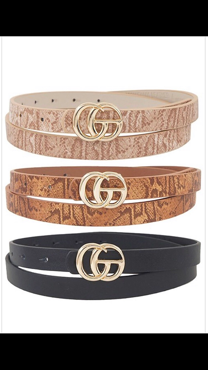 Thin Snake Print Go Belt