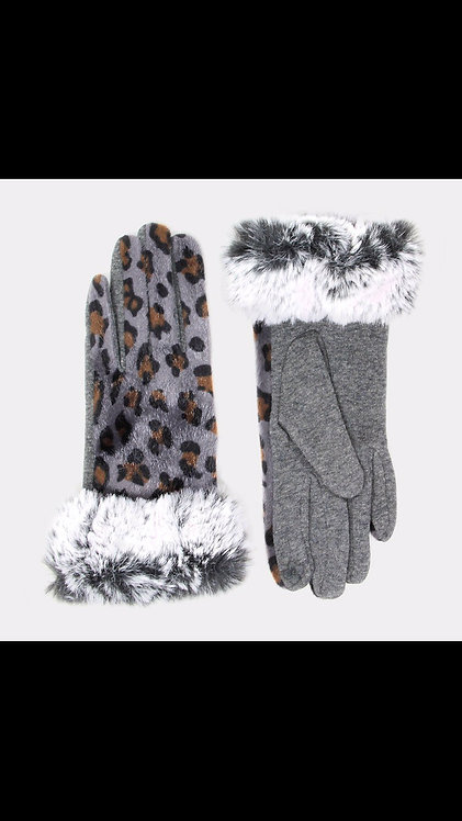 Leopard Fur Trim Gloves - Gray