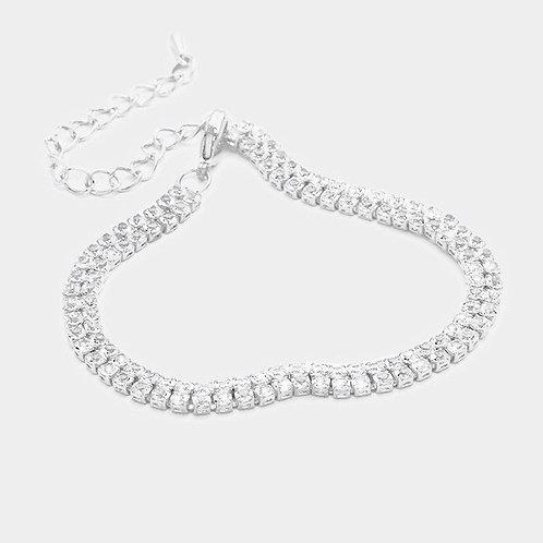 Rhinestone Tennis Bracelet - Silver