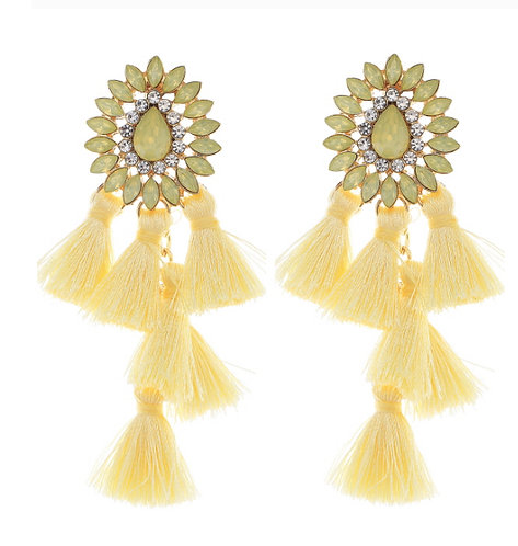 Yellow Cluster Thread Earring