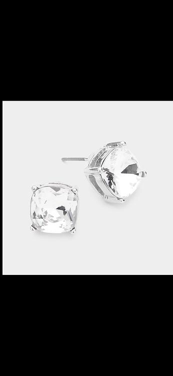 Stud Earrings - Silver Clear