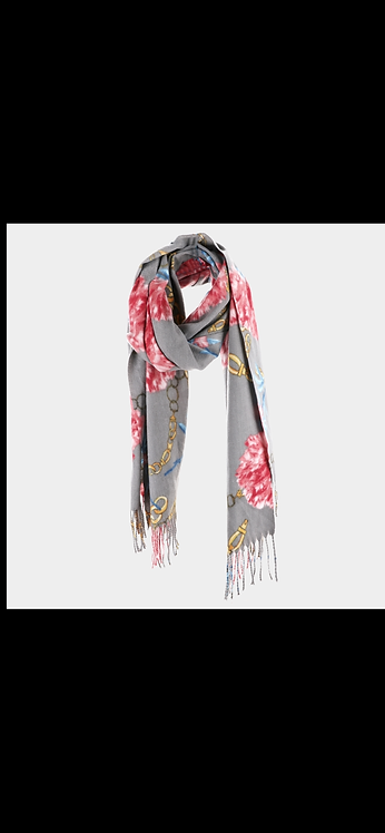 Flower Fleece Scarf - Gray