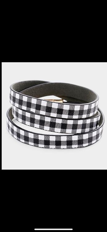 Pattern Wrap Bracelet - Black Plaid