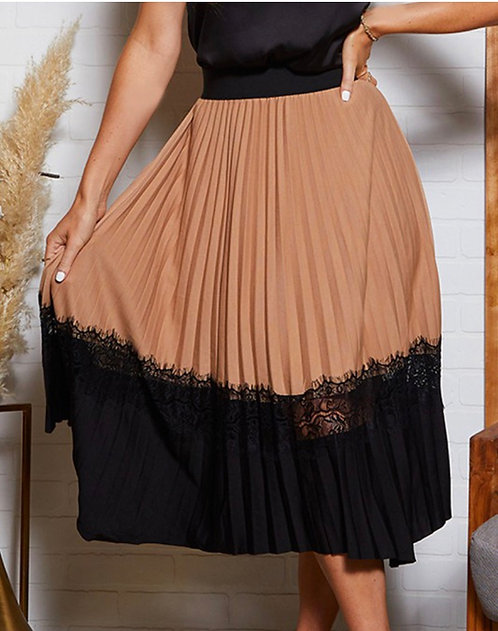 Pleated Lace Detail Skirt