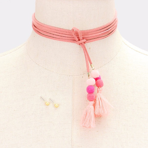 Tassle Wrap Choker - Pink
