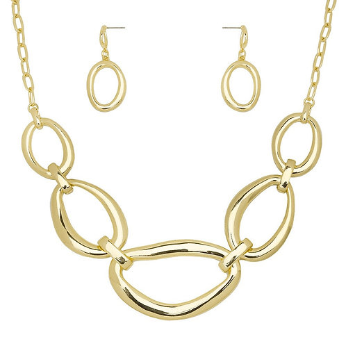 Metal Oval Necklace - Gold