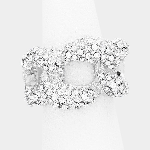 Bling Woven Cluster Stretch Ring - Silver