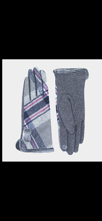 Plaid Poof Button Glove - Gray Pink