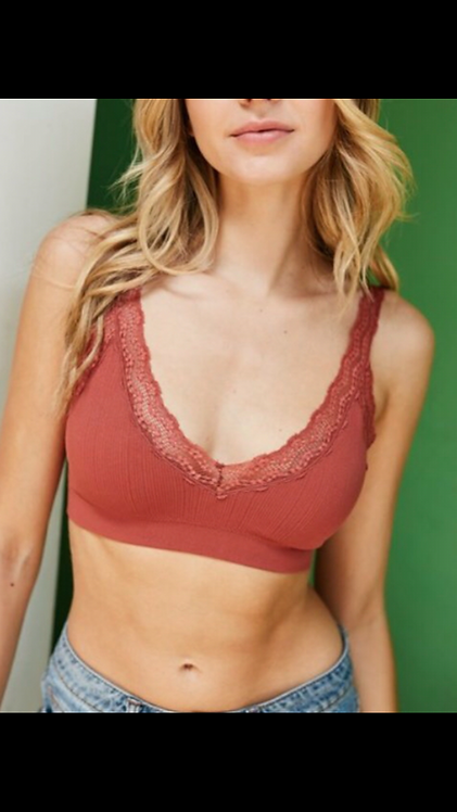 Ribbed Bralette - Rust