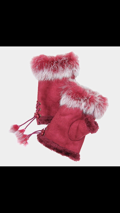 Solid Fur Fingerless Gloves - Burgundy