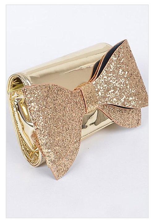 Glitter Bow Clutch - Gold
