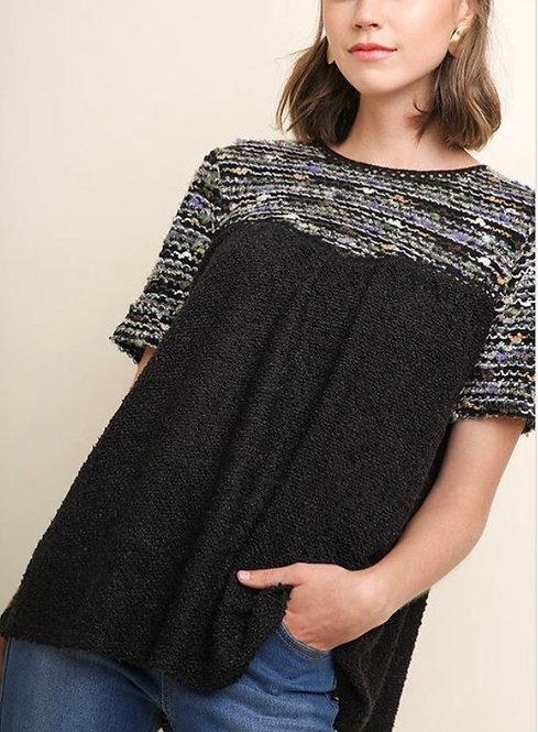 Black Tweed Knit Top
