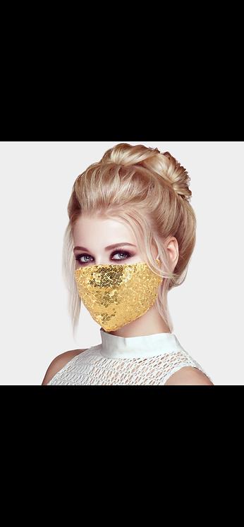 Sequin Adjustable Mask - Gold