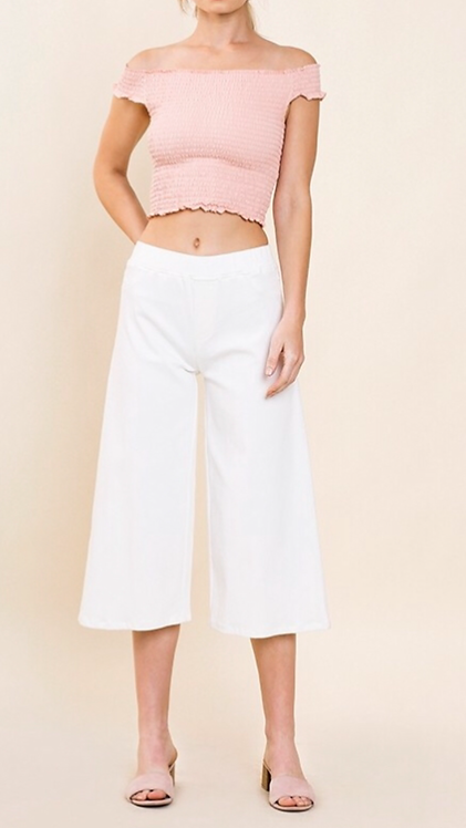 Cropped Flare Pant - White