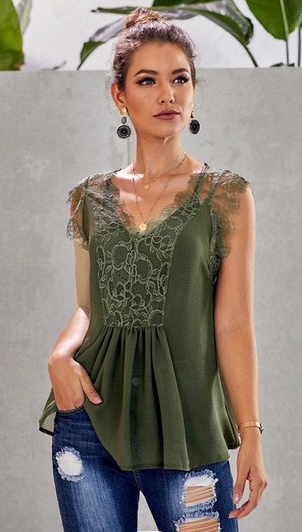 Olive Lace Sleeveless