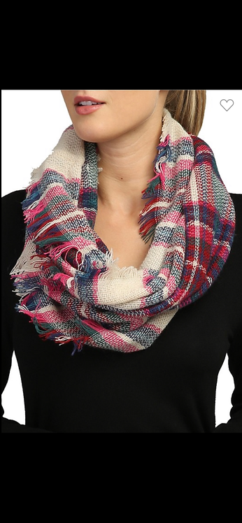 Plaid Infinity Scarf - Cream/Pink