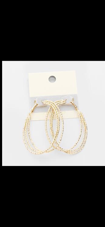 Triple Thin Metal Hoop - Gold