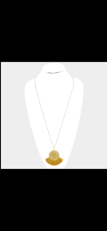 Beaded Fringe Tassel Necklace - Gold