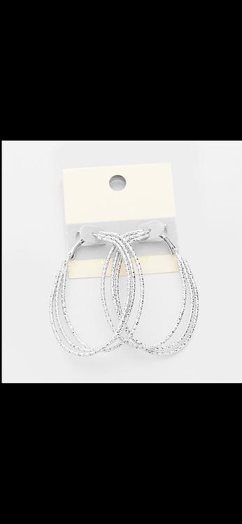 Triple Thin Metal Hoop - Silver