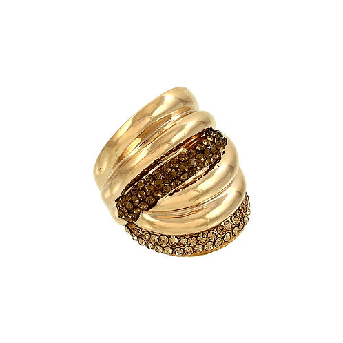 Swirl Statement Ring - Topaz/Brown