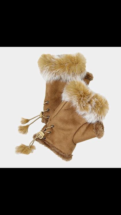 Solid Fur Fingerless Gloves - Camel