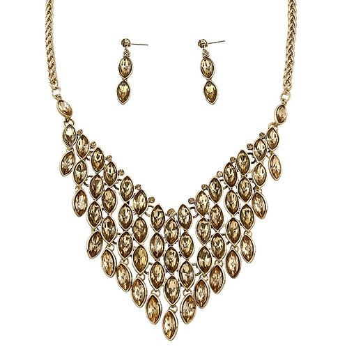 Layered Dressy Stone Necklace -Topaz