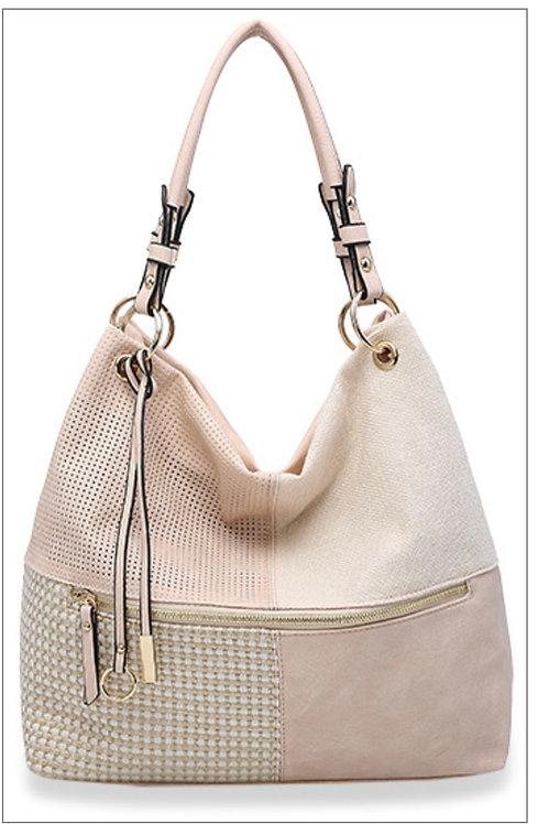 Beige Textured Hobo Handbag