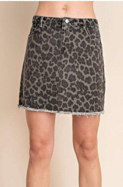 Leopard Frayed Hem Skirt