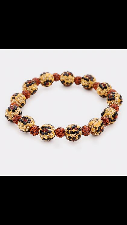 Leopard Bling Shambala Bracelet - Brown
