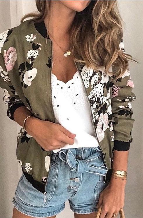 Olive Floral Bomber Jacket