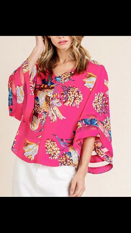 Floral Kimono Style Blouse