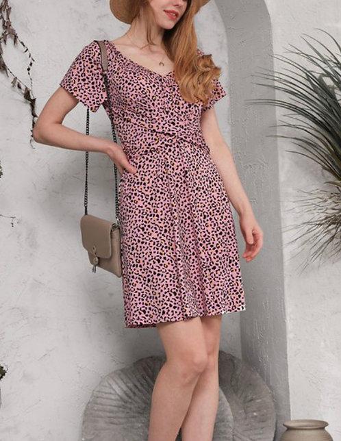 Front Wrap Short Dress - Leopard